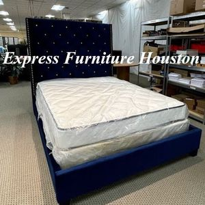 💙BLUE QUEEN SIZE 6FT BED - DIAMOND TUFTED- SAME DAY DELIVERY💥 for Sale in Houston, TX