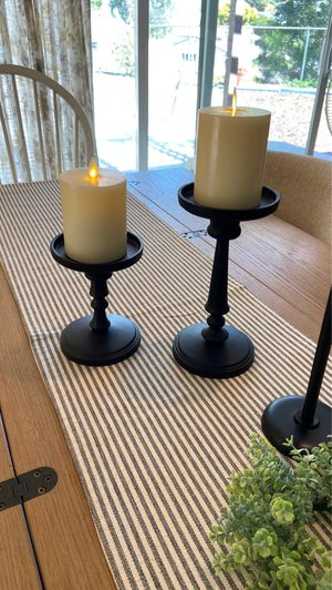 2 NEW POTTERY BARN DARK BRONZE CANDLE HOLDERS ~ PILLAR & TAPER for Sale in Thousand Oaks, CA