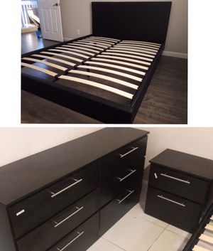 New queen bed frame dresser and nightstand mattress is not included for Sale in Pompano Beach, FL