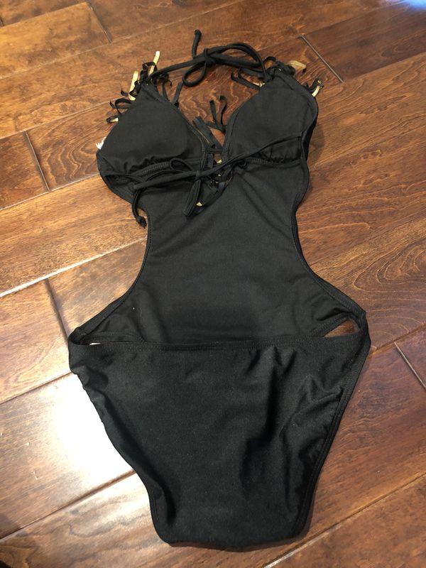 Black fringe monokini size small