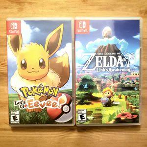 Pokemon let's go Eevee!, and Zelda Link's Awakening for sale or trade for Sale in Fullerton, CA