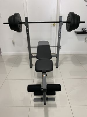 Bench and rack combo weights barbell 80 lb for Sale in Miami, FL