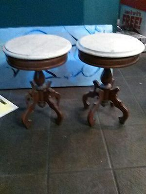 Victorian authentic mahogany wood marble top end tables from Italy for Sale in Sanger, CA