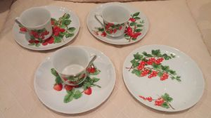 3 tea or coffee cups with fruit plates for Sale in Alexandria, VA