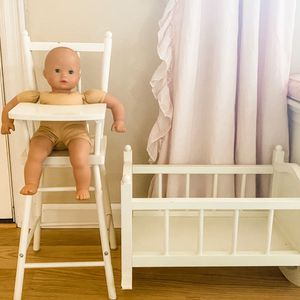 Pottery Barn Kids Pretend Play- Doll High Chair And Crib for Sale in Lynnwood, WA