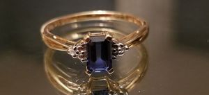 Stunning 10K yellow gold genuine blue topaz and diamond ring size 7 for Sale in Lake Stevens, WA