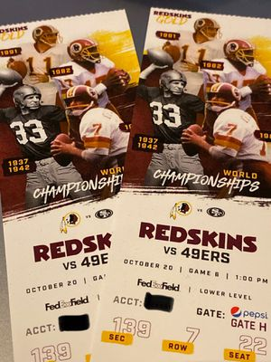 Redskins vs 49ers tickets 10/20/19 for Sale in Virginia Beach, VA