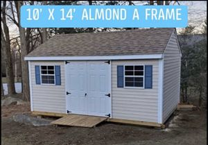 New 10' x 14' Almond Vinyl A Frame Shed with Blue Shutters for Sale in Rehoboth, MA