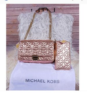 Michael Kors Rose Gold Sloan LG + Matching Wallet PRICED TO SELL for Sale in Spokane, WA
