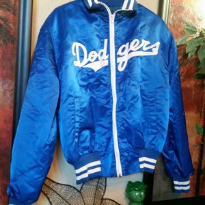 TRUE VINTAGE DODGERS BLUE SATIN 1970'S BOMBER CLASSIC JACKET SIZE MEDIUM MLB BASEBALL DOGERS DODGER for Sale in Rancho Cucamonga, CA