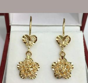 18k Solid Yellow Gold Flower Dangle Leverback Earrings, Diamond Cut 2.33 Grams for Sale in Redlands, CA