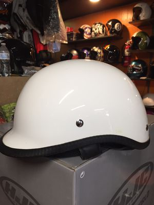 New white polo style dot half motorcycle helmet $50 for Sale in Whittier, CA