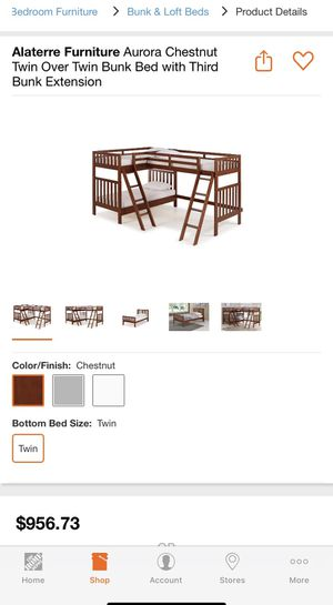 Chestnut Twin Over Twin Bunk Bed with Third Bunk Extension for Sale in Dallas, TX