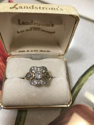 14K both White and yellow gold plated over 925 stamped Sterling Silver Brilliant Cubic Zirconia Beautiful Ring for Sale in Los Angeles, CA