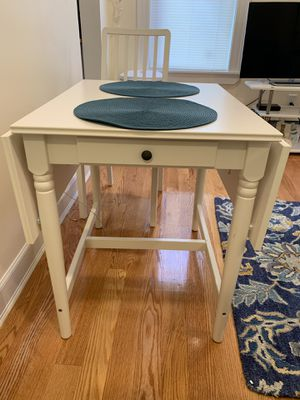 Drop Leaf Kitchen Table with 2 chairs, (IKEA Ingatorp) for Sale in Brookline, MA