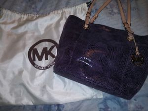 Georgous MK purple suede snake print leather purse for Sale in Houston, TX