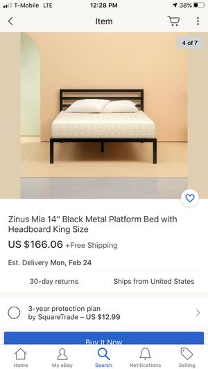 "Zinus Mia 14"" Black Metal Platform Bed with Headboard King Size for Sale in Gastonia, NC"