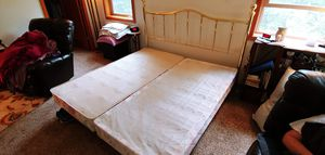 King size bed frame with boxspring Brass headboard Nice frame 2 twin boxspring Ready for your mattress! for Sale in Portland, OR