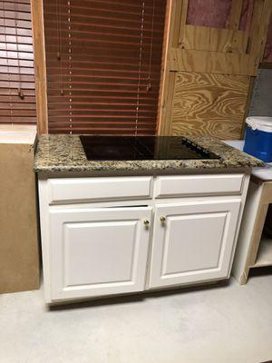 KitchenAid electric 4 burner cooktop + granite countertop + Kitchen island + Desk/cabinet for Sale in Alpharetta, GA