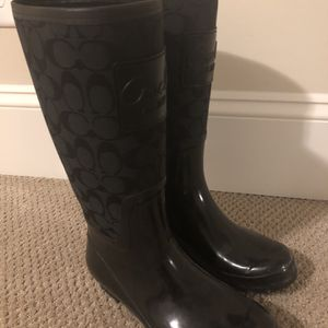 Gently Used Women's Coach Rainboots - Black for Sale in Durham, NC