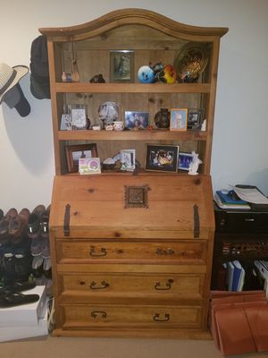 Tall Wood Hutch w/ Flip Down Compartment or Desk for Sale in West Los Angeles, CA