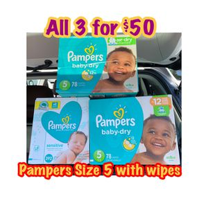 Pampers Size 5 diapers with wipes bundle for Sale in Oakland, CA