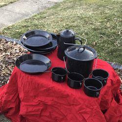 11 Piece Black Enamel Camp Cooking Set Camping for Sale in Cincinnati,  OH