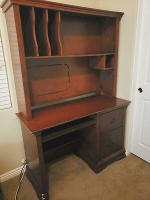 Computer desk with bookshelves hard wood for Sale in Las Vegas, NV