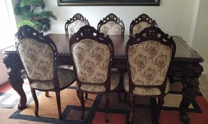 Hand crafted Dining table with 6 chairs for Sale in Bakersfield, CA
