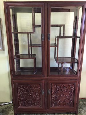 Vintage carved cherry wood Chinese cabinet. for Sale in Pico Rivera, CA