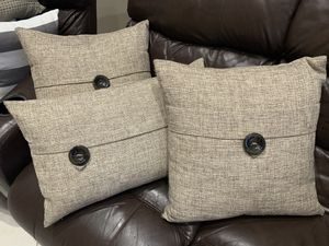 "3 feather cushions: one 26""x14"" , two 19""x19"" for Sale in Miramar, FL"