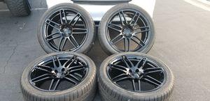 "20"" Audi OEM Wheels Rims 5x112 Bridgestone Tires A6 A7 A8 Gloss Black for Sale in Las Vegas, NV"