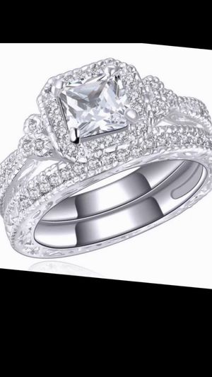 Woman's Absolutely Stunning 925 Sterling Solid Silver Princess Cut Breathtaking Engagement Ring 4.3 Ct Matching Wedding Band Luxurious BridalSet for Sale in Laveen Village, AZ