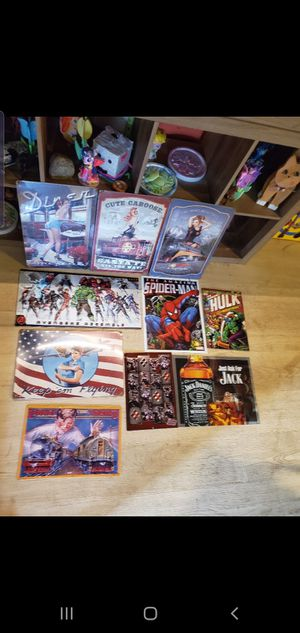 metal pin up sign $5.00 each marvel train disney signs trains for Sale in Ontario, CA