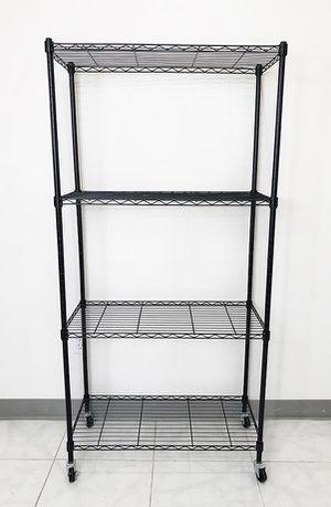 "Brand new $50 Metal 4-Shelf Shelving Storage Unit Wire Organizer Rack Adjustable w/ Wheel Casters 30x14x61"" for Sale in Pico Rivera, CA"