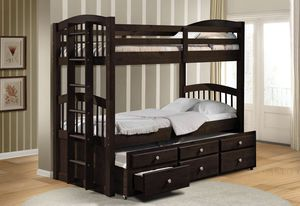 TRIPLE TWIN BUNK BED W STORAGE SOLID WOOD (Just $40 down to take it home ) for Sale in Hialeah, FL
