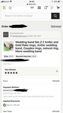 Women's antler and gold flake wedding band