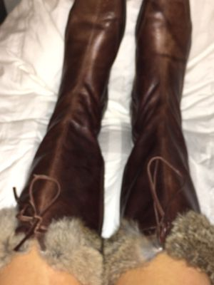 Italian Leather Size 10 Boots with real rabbit fur cuffs for Sale in Pensacola, FL