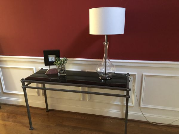 Console table - Dark Grey metal frame with black marble top.