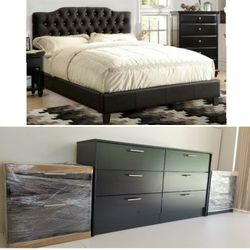 New Queen Black Bed Frame Dresser And Two Nightstands for Sale in Kissimmee,  FL
