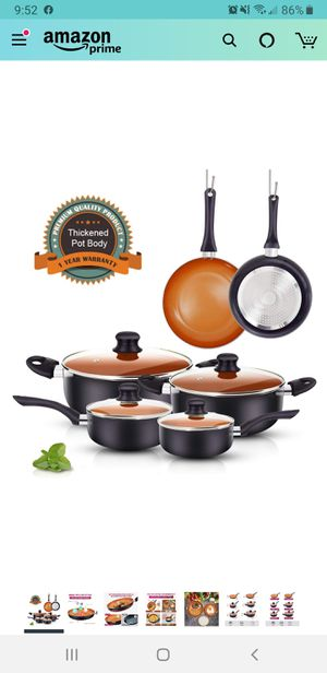 New in sealed box, FRUITEAM 10pcs Cookware Set Ceramic Nonstick Soup Pot, Milk Pot and Frying Pans Set, Copper Aluminum Pan with Lid, Induction Gas for Sale in Tustin, CA