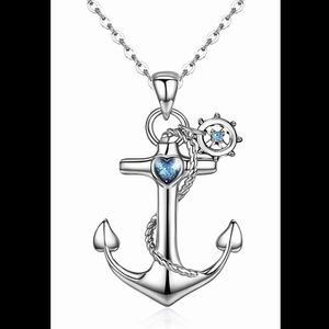 CUOKA .925 Sterling Silver Anchor Pendant Necklace, Blue Crystal Heart, Hypoallergenic for Sale in Beaumont, CA
