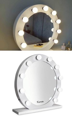 """(New in box) $200 White 28"""" Vanity Mirror w/ 10 Dimmable LED Light Bulbs, Hollywood Beauty Makeup USB Outlet for Sale in Whittier, CA"""