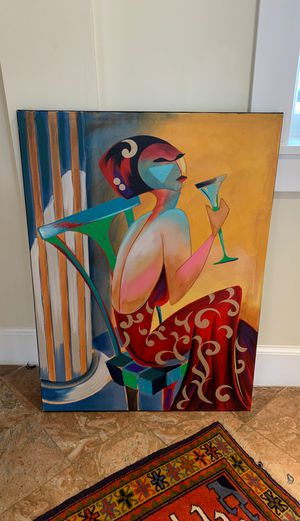 Oil painting- woman with drink for Sale in Tysons, VA