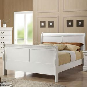 Brand New Full Size White Wood Sleigh Bed Frame ONLY for Sale in Silver Spring, MD