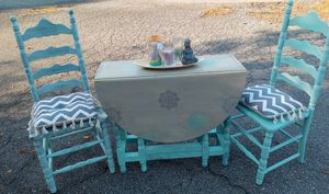 Hand Painted drop leaf table w 2 chairs for Sale in Newark, DE