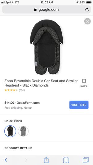 Zobo Reversible Double Car Seat and Stroller Headrest for Sale in Washington, DC
