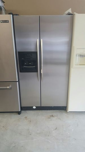 Super clean kitchen aid side by side stainless steel warranty virgils preowned appliances for Sale in Austell, GA