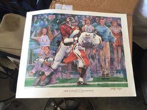 The Takeaway print 1992 national championships Alabama 34 Miami 13 with George Teague signature for Sale in Montgomery, AL