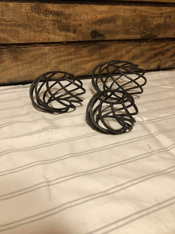 Set of 3-Metal Candle Holders